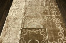 ROMANY WASHABLES GYPSY SETS OF 4PC DARK BEIGE MATS NON SLIP TOURER SIZE RUGS